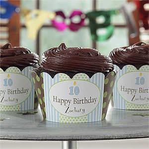 Personalization Mall Personalized Birthday Cupcake Wrappers - Birthday Boy at Sears.com