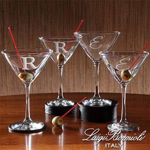 Personalized Martini Glass Set with Initial Monogram - 9239