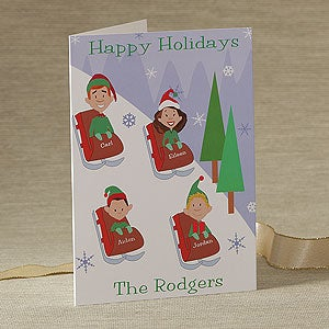 Personalized Holiday Greeting Cards - Sledding Family - 9240