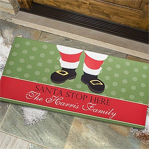 Personalized Christmas Doormat - Santa Stop Here - 9248