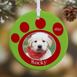 Personalized Photo Christmas Ornaments - Pet Memorial Pawprint - 9278