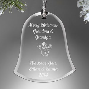 Personalized Glass Bell Christmas Ornaments - 9281