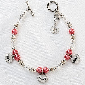 Personalized Charm Bracelets - Teach, Trust, Believe - 9294