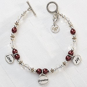 Personalized Charm Bracelet - Love, Grandma, Joy - 9297
