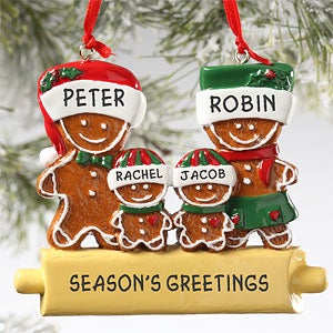 Personalization Mall Personalized Gingerbread Family Christmas Ornament - 4 Names at Sears.com