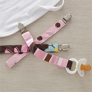 Girls Pacifier Clips - Set of Three - 9401