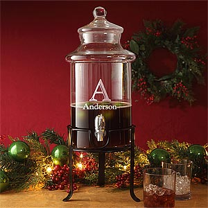 Personalized Glass Beverage Dispenser for Holidays - 9407