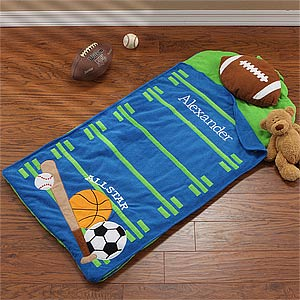 Personalized Kids Sleeping Bag - Sports Nap Mat - 9408