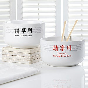 Personalized Stoneware Bowls - Health Food Friends Chinese Characters - 9440