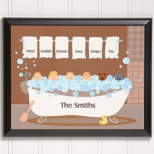 Personalized Wall Plaques - Bathtub Family Characters - 9454