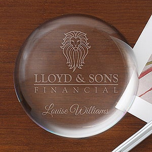Personalized Corporate Engraved Logo Crystal Paperweight - 9459
