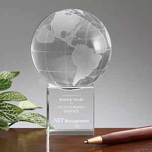 Personalized Corporate Engraved Logo Crystal Globe - 9465