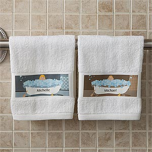 Personalized Hand Towels - Bathtub Family Characters - 9490