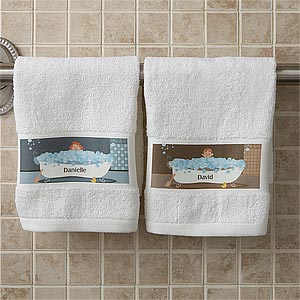 Gentil Personalized Bathroom Hand Towels   Bathtub Characters   9491