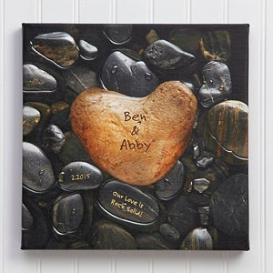Personalized Canvas Wall Art - Heart Rock - 9531