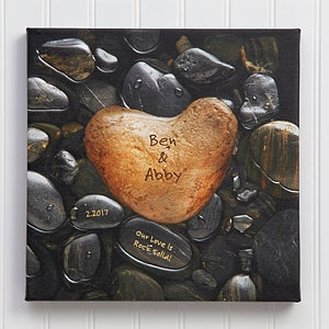 Personalized Canvas Wall Art - Romantic - Heart Rock  - 9531