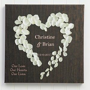 Personalized Canvas Wall Art - Hearts of Roses - 9535