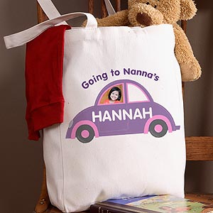 kids personalized photo tote bag sleep over