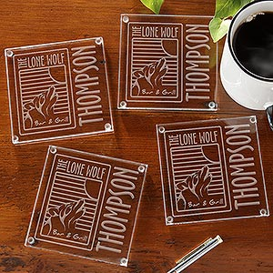 Personalized Engraved Logo Glass Coaster Set - 9561