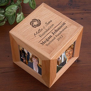 Personalized Corporate Engraved Logo Cube Picture Frame - 9563