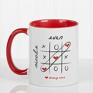Personalized Heart Coffee Mug - Love Always Wins - 9571