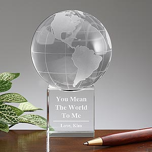 Personalized Crystal Globe - You Mean the World To Me - 9577