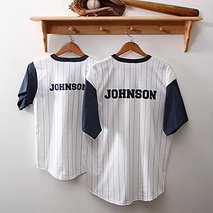 Personalized Father and Son Pinstripe Baseball Jersey from personalizationmall.com