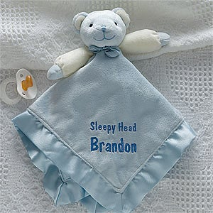Personalization Mall Personalized Teddy Bear Blue Baby Blanket - Embroidered at Sears.com