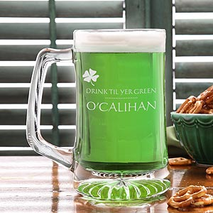 St Patrick's Day Personalized Beer Mug - Drink Til Yer Green - 9667