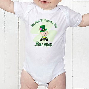 Babys first st patricks day personalized baby clothes irish gifts personalized babys first st patricks day clothing 9673 negle Choice Image