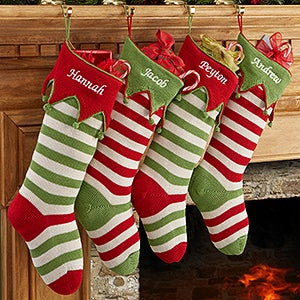 Knitting Pattern For Christmas Stocking Personalized : Personalized Knit Christmas Stockings - Seasonal Stripes