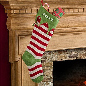 Personalized Christmas Stockings - Knit Red Stripes - Christmas Gifts
