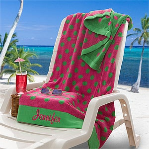 Personalization Mall Oversized Personalized Beach Towel - Pink & Lime at Sears.com