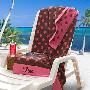 Personalization Mall Oversized Personalized Beach Towels - Pink & Brown Polka Dots at Sears.com