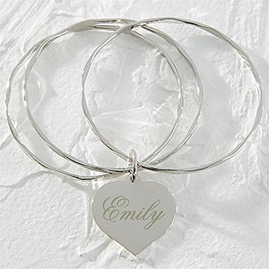 Personalized Silver Heart Bangle Bracelet - 9850