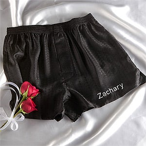 Personalized Wedding Silk Boxer Shorts - For The Groom - 9872