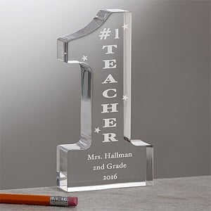 Personalized Number One Teacher Sculpture - 9903