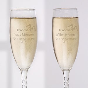 Custom Champagne Glasses With Your Business Logo - 9967