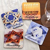 Personalized Happy Hanukkah Custom Coaster Set - 3007