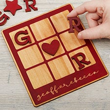 Personalized Romantic Wooden Tic Tac Toe Game - 30102