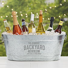 Backyard Bar & Grill Personalized Galvanized Beverage Tub - 30137