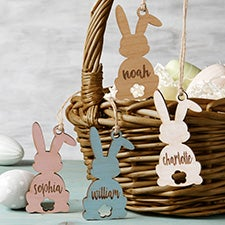 Easter Bunny Personalized Wooden Easter Basket Tags - 30253