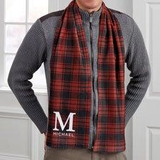 Christmas Plaid Personalized Men's Fleece Scarf - 30274