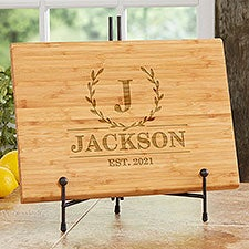 Wreath of Everlasting Love Personalized Bamboo Cutting Boards - 30316