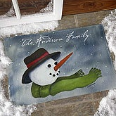 Personalized Watercolor Snowman Door Mat - 3033