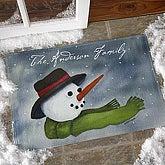 Personalized Watercolor Snowman Door Mat - 3033