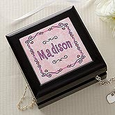 Personalized Jewelry and Treasure Box - Pretty In Pink Design - 3043