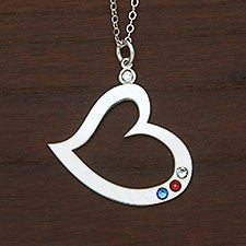 Personalized Birthstone Heart Necklace - 30533D