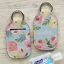 Floral Personalized Hand Sanitizer Holder Keychain - 30569