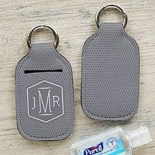 Patterned Men's Monogram Personalized Hand Sanitizer Holder Keychain - 30575